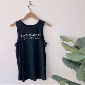 3/$20 I'm Lost Too Black Workout Tank